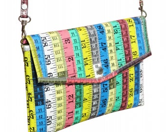Envelop clutch made from measuring tapes, FREE SHIPPING, vegan purse, eco-friendly shoulder bag, gift for design art student, Upcycled gifts