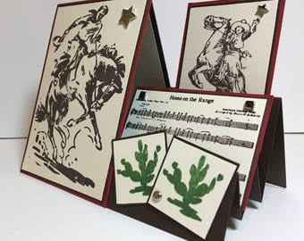 Western Card, Rodeo Card, Cowboy Card, Handmade Cowboy Card, Stair Step Card