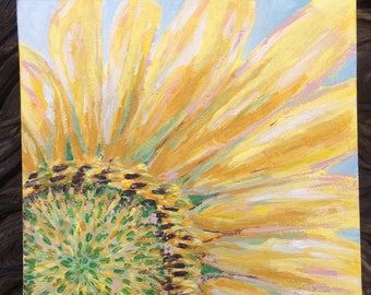 Acrylic Sunflower Close Up