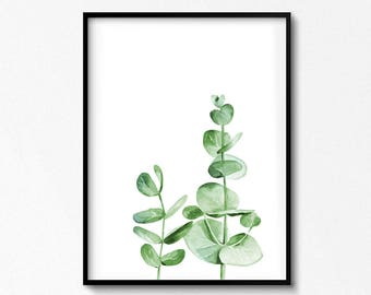 Eucalyptus Branches Print. Watercolor Leaves. Plant Poster. Botanical Illustration, Eucalyptus Art. Plant Print. Greenery Art. Printable Art