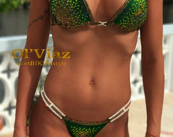 Emerald&Green Metallic Spandex Bikini Suit with Crystals/Competition Suit/Posing Suit/Rhinestone Fitness