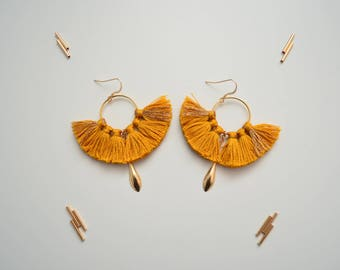 Phoenix earrings mustard