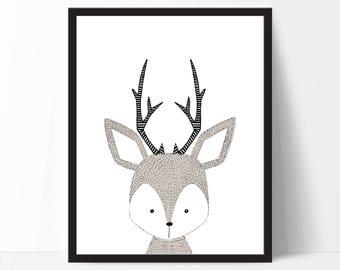 Nursery Art, Nursery Printable, Childrens Art, Animal Print, Deer Print, Kids Art, Scandinavian Art, Scandinavian Nursery, Animal Printable
