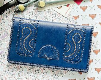 Qwipas Blue Oversized Genuine Leather Wallet Women Wallet Slim Tablet Handphone Zipper Cards Clutch Organizer Wallet Big Wallet