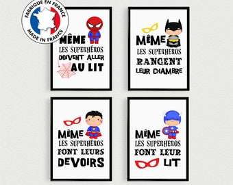PROMO: Set of 4 Posters 21x30cm quotes super hero (version 2) baby pele mele in a room - poster