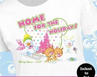 Disney Girl Christmas Castle Shirt, Disney Home For The Holidays Shirt, Disney Christmas Tank