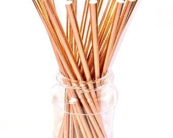 ROSE GOLD FOIL Metallic Paper Straws (set of 25) - Standard Size Straw Solid Rose Gold Foil (19.5cm x 0.6cm)