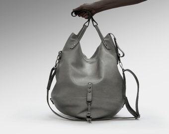 Leather bag Large Hobo Shoulder slouchy travel handbag everyday big sling tote purse gray oversize zippered boho simple minimalist weekend