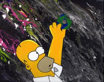 Homer in Space, Homer Simpson, The Simpsons, Homer Simpson Art, Homer Simpson Painting, SALE