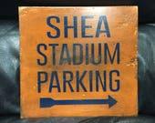 Shea Stadium Parking | Baseball Sign | Shea Stadium | New York Mets | Distressed Wood Handmade | Boys Decor | Man Cave