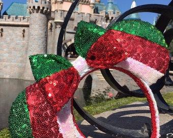 Christmas Sequin Stripe Mouse Ears
