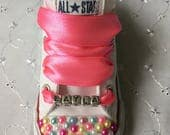 Bling Customised Named Multi Coloured Charm Beads Infants CONVERSE All Star Trainers 310