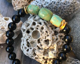 Turquoise and Onyx Stretch Bracelet