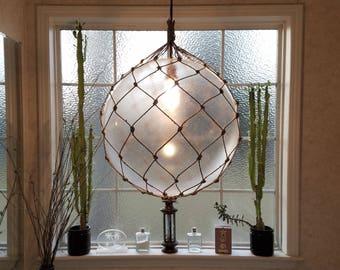 "Large Nautical Light Pendant, 16"" Clear, Tropical, Tiki, Fishering Float, Rope Lamp, Beach Decor, Nautical Home Decor, Fishnet, Sea, Sailing"