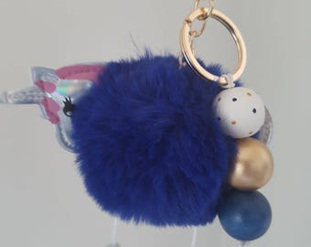 Fluffy Wooden Bead Blue Unicorn Keyring - Bag Charm