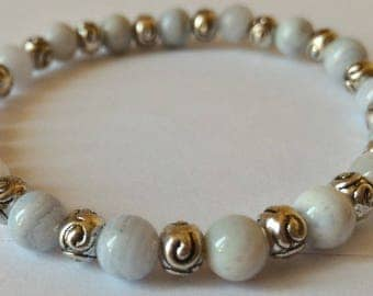 Blue chalcedony bracelet, stone of communication, beads 6 mm and Tibetan silver round beads