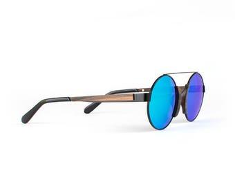 Wooden Sunglasses, Wood Frame Sunglasses, Black Metallic Finish, Handmade Round Fusion Sunglasses by WINKWOOD