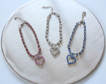 Heart necklace / Rhinestone necklace / Crystal necklace for rabbits, dogs and small pets