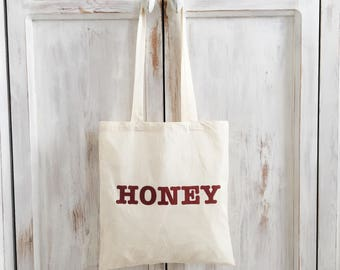 Tote canvas bag honey statement red
