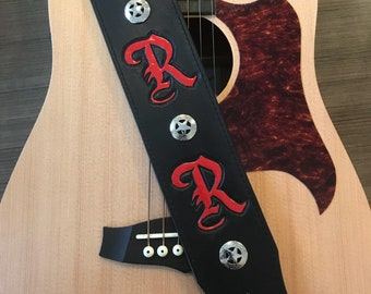 Custom Leather Guitar Strap - Initials