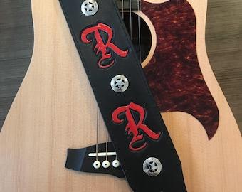 Custom Leather Guitar Strap - Initials