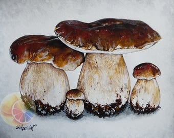 "Mushroom Painting, Porcini (Bolete) Mushrooms, 8""x10"" original hand painted artwork, dining room decor, kitchen wall art, cafe or home decor"
