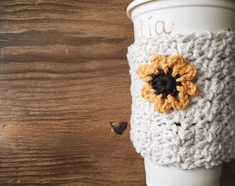 DAISY Coffee Cozy, Coffee Sleeve, Handmade Coffee Cozies
