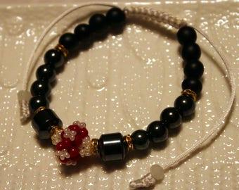 Cute Hematite, Pearl & Onyx-beaded bracelet; handmade, shamballa, beadweaving, beautiful, black, pink, white