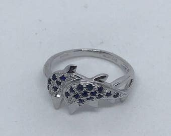 9ct white gold sapphire and diamond dolphin ring