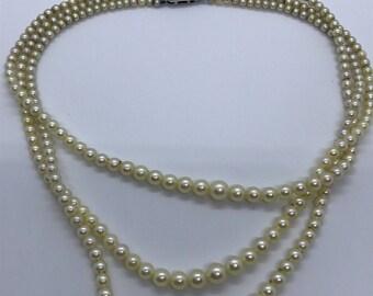 Vintage cultured pearl necklace rose cut diamond clasp
