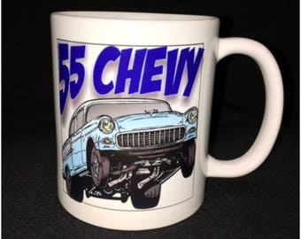 55 Chevy Mug, Blue 55 Chevy, Drag Racer, Hot Rod, Custom Car Coffee Mug, Street Rod, Roadster