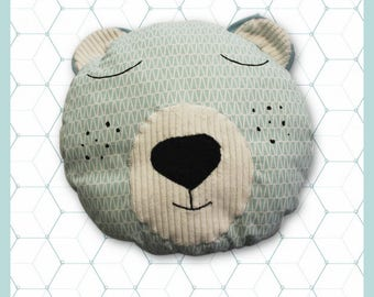 Doudou, plush, pillows, polar bear Mint/turquoise, baby and child's room decoration