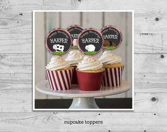 Farm birthday cupcake toppers - set of four farm animal toppers personalized with your child's name - digital / printable