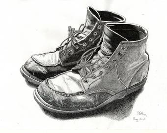 Greeting Card - Pen & Ink Drawing, A5 - Old Boots