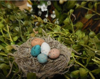 20% OFF STOREWIDE Personalized Fairy Garden Miniature Nest with Eggs, Build your own Nest, Fairy Garden Accessory for Terrariums and Fairy G