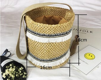 Woven Straw Bag with Cotton fabric Straps Bucket Bag Shoulder Bag