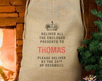 Personalised Santa Sack, Christmas sack, Special delivery Sack, Christmas stocking, Santa Sack, Hessian sack, Christmas present bag