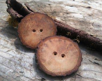 "Two big Oak buttons, Wooden buttons, 2"" buttons"