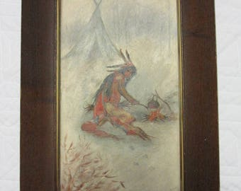 Antique portrait Native American Indian oil PAINTING signed McGowing '02 hand painted original art vintage  home decor