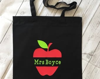 Personalised Teacher's Apple Tote Bag (two sizes available)