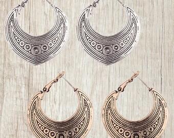 Tribal hoop earrings, silver hoops, ethnic jewelry, gypsy creoles - Minimalist earrings boho. Bohemian earrings copper, Gifts for women, her