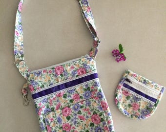Lacy Flowered Romantic Bag with Coin Purse