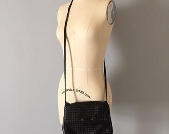 soft woven leather purse | 80s messenger bag | Ganson San Francisco purse