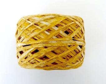 DK paper yarn · rayon yarn · hand dyed · natural yarn · paper yarn · knitting · golden ochre yarn