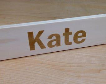 Custom Wood Desktop Name Plate