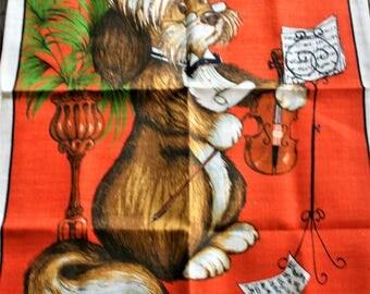 Pure Irish Linen new unused vintage Dog playing violin teatowel tea towel by Dunmoy