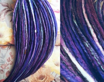 """FULL SET of dreads """"Galaxy"""", synthetic dreads, blue dreads, double ended dreads, dreadlocks"""