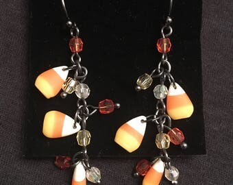Halloween dangle candy corn earrings  (pierced ear)