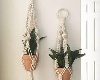 Macramé Plant Hanger + Clay Pot // Cotton Rope // Bohemian Plant Holder // Bedroom Wall Art // Office Decor // Boho // Minimalist