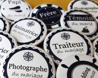 Badges mariage marins- cadeau invités – thème de la mer, de la Bretagne